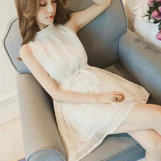 Sleeveless Glitter Mesh A-line Mini Dress
