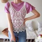 Sleeveless Crochet Open-knit Top