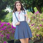 Striped Double-breasted Blazer / Striped Suspender Skirt