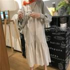 Hooded Long-sleeve Mock Two Piece Dress