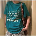 Short-sleeve Printed T-shirt Aqua Green - One Size