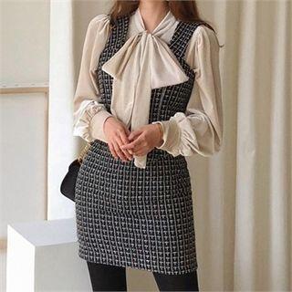 Checked Tweed Mini Pinafore Dress