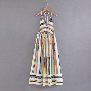 Spaghetti Strap Midi A-line Striped Dress