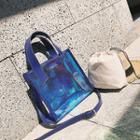Set: Drawstring Bag + Hologram Tote With Shoulder Strap