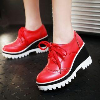 Lace-up Brogue Wedge Shoes