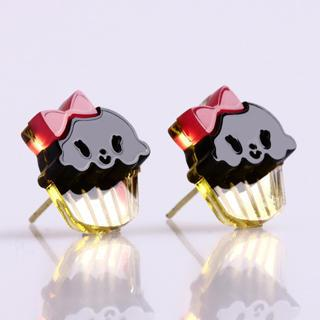 Miss Cupcake Black Stud Gold Earrings