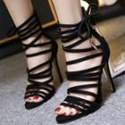 Strappy Metal-detail Stiletto Sandals