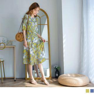 Single-breasted Floral Chiffon Midi Dress