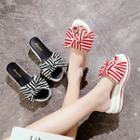 Ribbon Accent Slide Platform Sandals