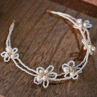Wedding Flower Faux Pearl Headband Headband - White - One Size