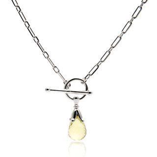 Round Toggle Lemon Quartz Briolette Necklace