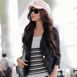 Single Button Blazer Black - One Size