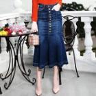 High Waist Midi Denim Skirt