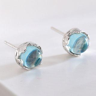 925 Sterling Silver Faux Crystal Earring S925 Silver - Blue & Silver - One Size