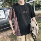 Elbow-sleeve Plaid Panel T-shirt