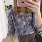 Elbow-sleeve Floral Shirt