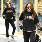 Letter-printed Leopard-panel Sweatshirt Black - One Size