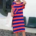 Short-sleeve Color Block Knit Midi Dress