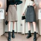 Houndstooth Woolen Midi Skirt