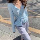 Plain Slit Knit Cardigan
