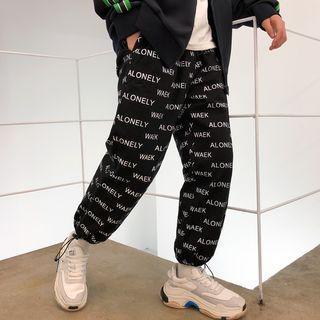 Drawstring Lettering Baggy Pants