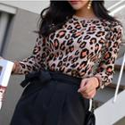Animal Print Knit Top Leopard - One Size