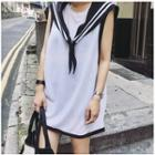 Sleeveless T-shirt Dress With Shawl