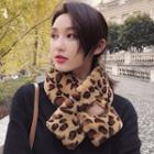 Leopard Patterned Furry Scarf
