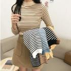Multi-color High-neck Striped Long-sleeve Sweater