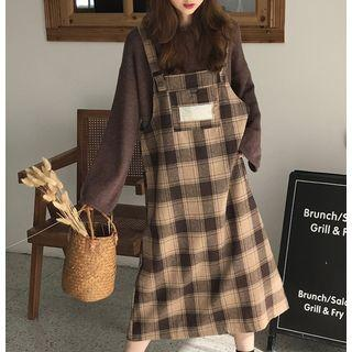 Polo Collar Knit Top / Plaid Pinafore Dress