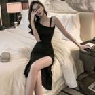 Sleeveless Asymmetric Slit Cutout Sheath Dress