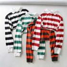 Wide-stripe Cropped Polo Shirt