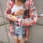 Long-sleeve Lettering Plaid Shirt