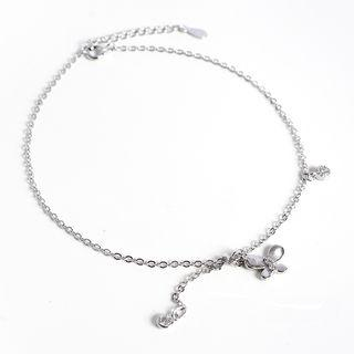 925 Sterling Silver Butterfly Anklet 925 Silver - As Shown In Figure - One Size