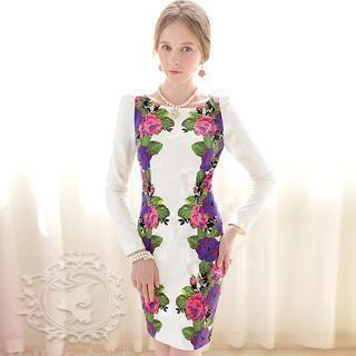 Long-sleeve Floral Sheath Dress
