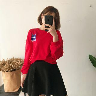Cartoon Embroidered Top