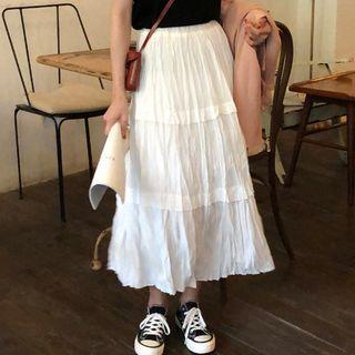 A-line Midi Crinkle Skirt White - One Size