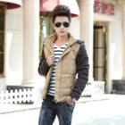 Detachable Hood Color-block Padded Jacket