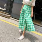 Buttoned Plaid A-line Maxi Skirt
