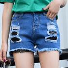 Fishnet Trim Distressed Denim Shorts