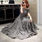Off-shoulder Floral Tiered Midi Dress