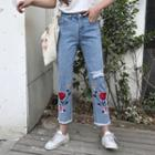 Embroidery Cropped Slim-fit Jeans