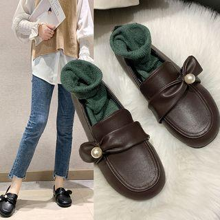Faux Peal Buttoned Flats
