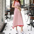 Sleeveless Striped Midi Flare Dress