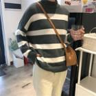 Striped Long-sleeve Loose-fit Knit Top