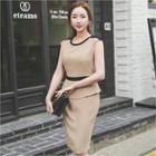 Sleeveless Contrast-trim Peplum Dress