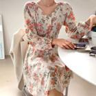 Off-shoulder Rosette Flare Dress