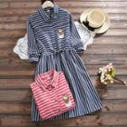 Owl Embroidered Stripe A-line Dress