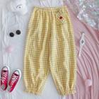 Gingham Harem Pants As Shown In Figure - One Size