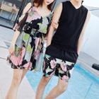 Couple Matching Plain Tank Top / Printed Shorts / Printed Off-shoulder Elbow-sleeve A-line Dress